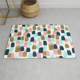 Pink, Mint, Navy & Gold Abstract Print, Nursery Art, Little Girls Room Rug