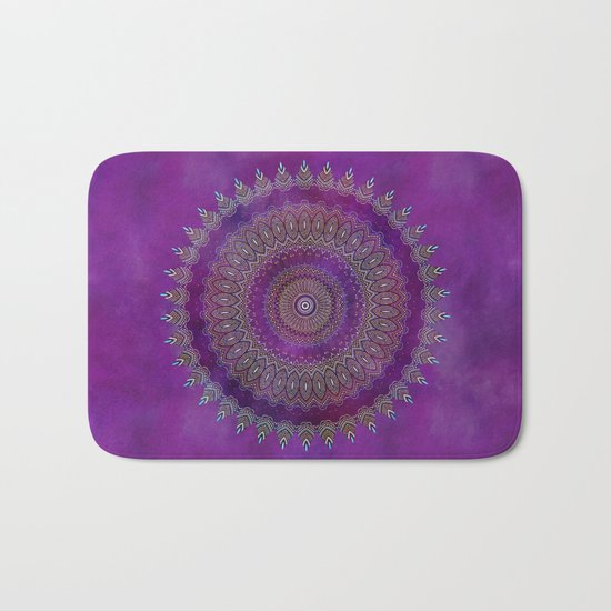 Precious Mandala in rich purple and pink tones Bath Mat