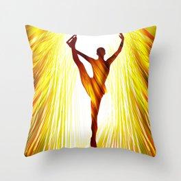 Ladies figure skating. Ballet dancer, ballerina. Winter sport ice rink Throw Pillow