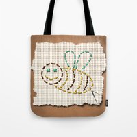 bee Tote Bags featuring bee by gazonula