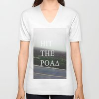 road V-neck T-shirts featuring Road by sh3011