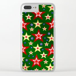 grenn,blue,gold,red stars xmas pattern Clear iPhone Case
