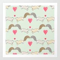 Squirrel Love Art Print