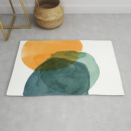 Watercolor Circles in Autumn Shades of Mustard and Teal Rug