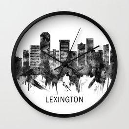 Lexington Kentucky Skyline BW Wall Clock