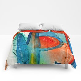 Poppies and Pods II Comforters
