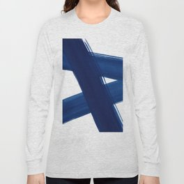 Indigo Abstract Brush Strokes | No. 4 Long Sleeve T-shirt