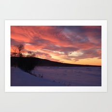 Wintry Sunset over the Porkies Art Print
