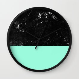 Mint Meets Black Marble #1 #decor #art #society6 Wall Clock