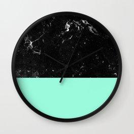 Mint Meets Black Marble #1 #decor #art #society6 Wall Clock