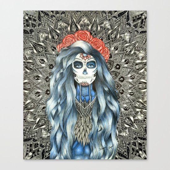 Full Page Day of the Dead Woman Mandala Canvas Print