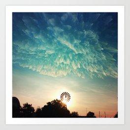 Windmill Sunrise Art Print