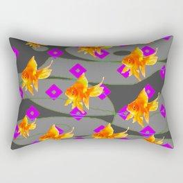 Decorative Gold Fish Modern Grey  Abstract Rectangular Pillow