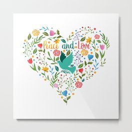 Peace and love floral heart illustration Metal Print