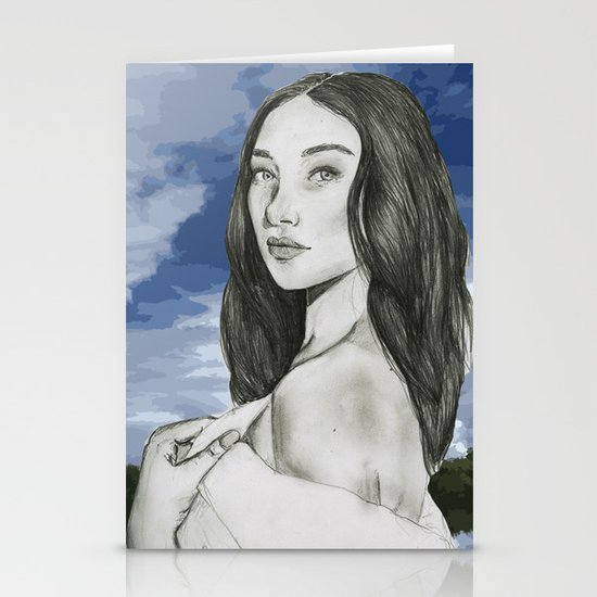 Portrait Bella Hadid Stationery Cards By Lauragomez