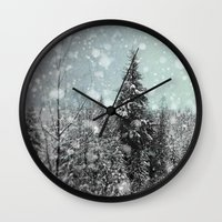 snow Wall Clocks featuring Snow by Pure Nature Photos