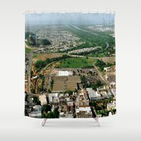 puerto rico Shower Curtains featuring Bayamon Puerto Rico by BravuraMedia