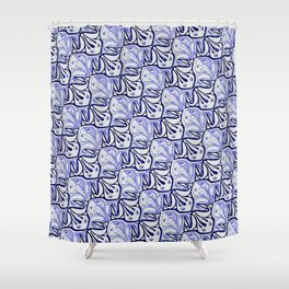 Symmetric Frog Tessellation in Blue Shower Curtain
