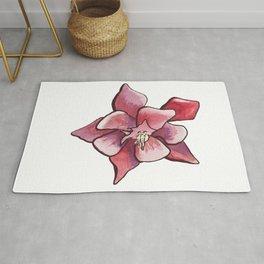 Aquilegia Columbine Flower in aquarelle Rug