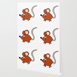 Drawn by hand a Friendly little mouse for children and adults Wallpaper