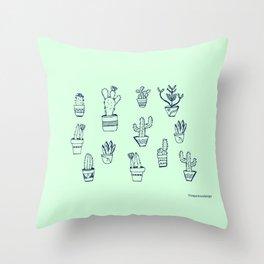 Cactus and Mint Throw Pillow