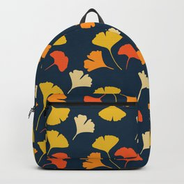 Colorful Ginkgo Leaves Pattern Blue Background Backpack