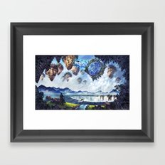 Spaceship enters Fantasy World through Star Gate Framed Art Print