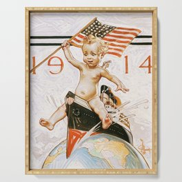 Joseph Christian Leyendecker - New Year Baby 1914 - Digital Remastered Edition Serving Tray