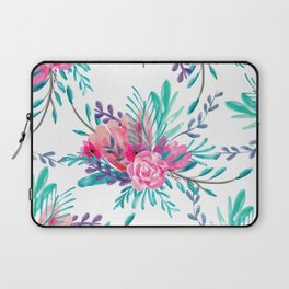 Modern hand painted pink turquoise floral watercolor pattern Laptop Sleeve