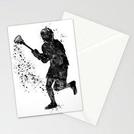 Boy Lacrosse Black Watercolor Sports Art Stationery Cards