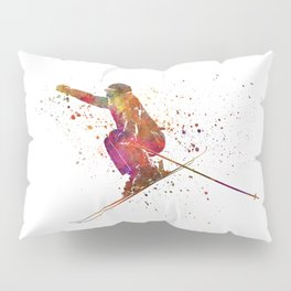 Woman skier skiing jumping 03 in watercolor Pillow Sham