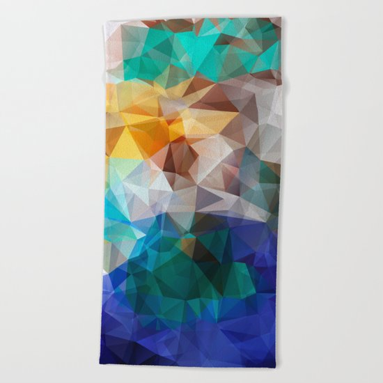 Abstract background of triangles polygon print. Bright design colors Beach Towel