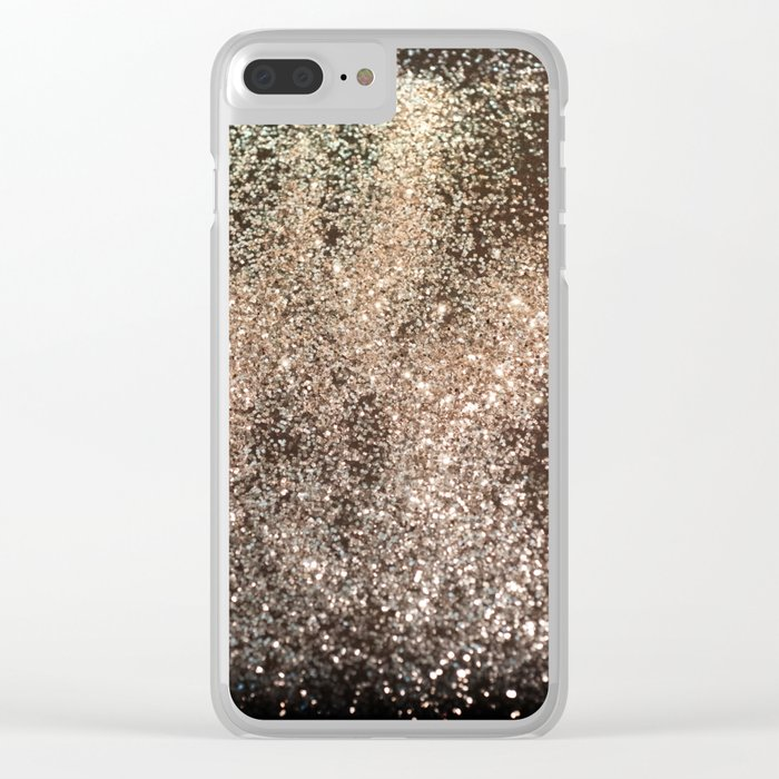 Sparkling GOLD BLACK Lady Glitter #1 #decor #art #society6 Clear iPhone Case