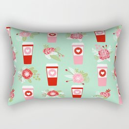 Coffee valentines day gifts mint and pink floral bouquet flowers pattern print Rectangular Pillow