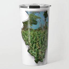 Green Illinois Travel Mug