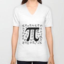 The Pi symbol mathematical constant irrational number, greek letter, background Unisex V-Neck