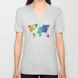 World map in watercolor rainbow Unisex V-Neck