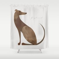 greyhound Shower Curtains featuring Greyhound by a. peterson
