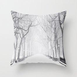 Snowy Park Throw Pillow