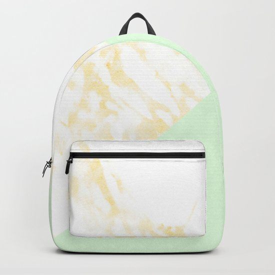 White Marble Pastel Orange and Light Green Geometric Backpack