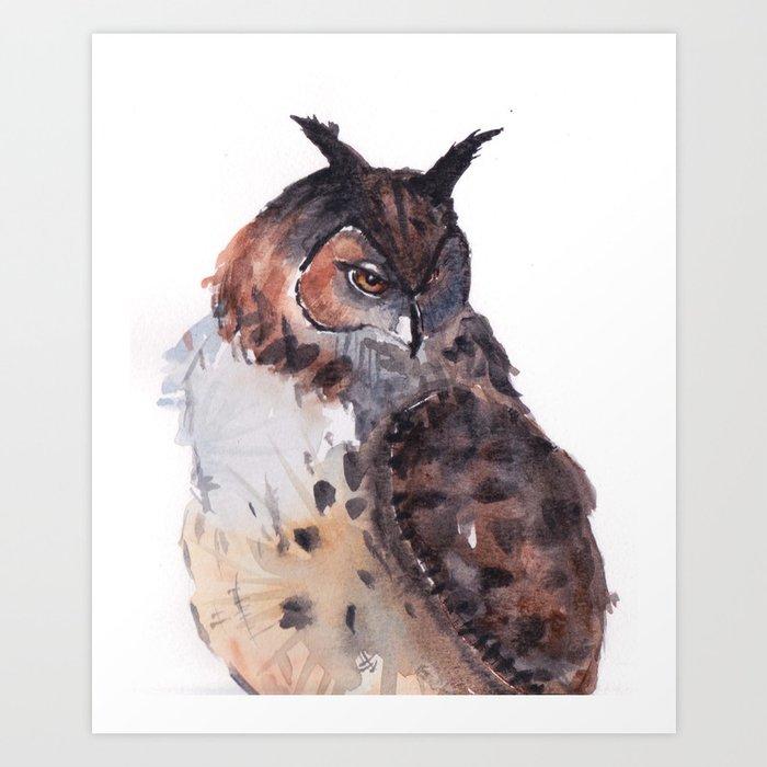 Owl Watercolor Art Print