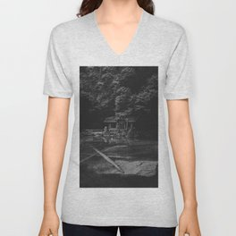 Cottage (Black and White) Unisex V-Neck