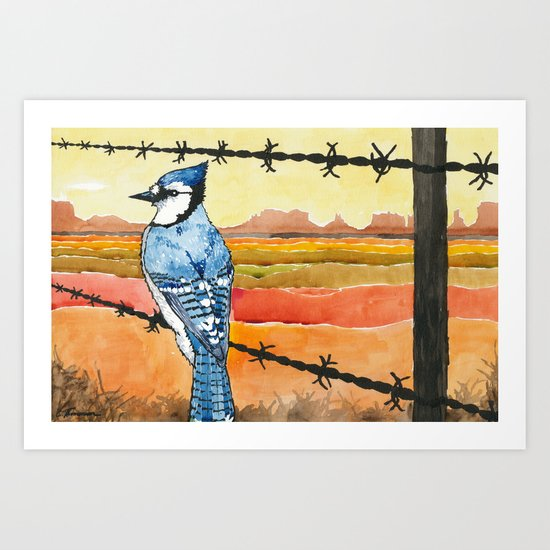 Blue Jay in the Desert Art Print