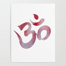 Pink Watercolor Om Poster