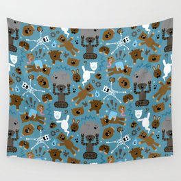 Crazy MonkeyTeddyBears Pattern Wall Tapestry