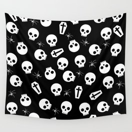 Skull, spider and chest  - Halloween pattern Wall Tapestry
