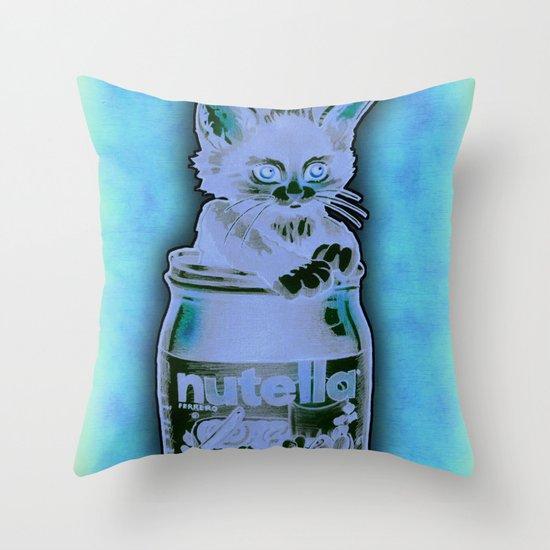 Kitten Loves Nutella Throw Pillow