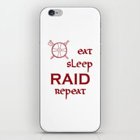 vikings iPhone & iPod Skins featuring eat-sleep-RAID-repeat red, Vikings by ZsaMo Design