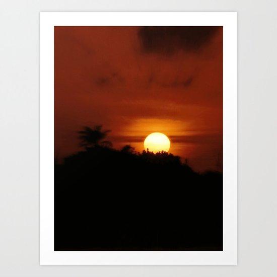 Sunset from the Maya land Art Print