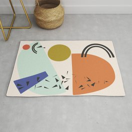Mint and Orange Abstract Shapes Rug